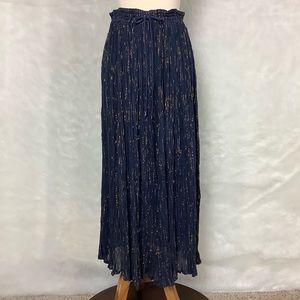 Vintage India Cotton Blue Gold Broomstick Skirt